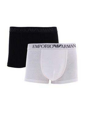 Kit 5 Cueca Boxer Lisa Preto e Branco Emporio Armani