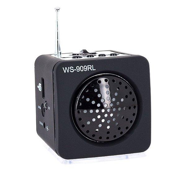 Mini Caixa De Som Portátil Usb Ws - 909rl Mp3 Fm Preto