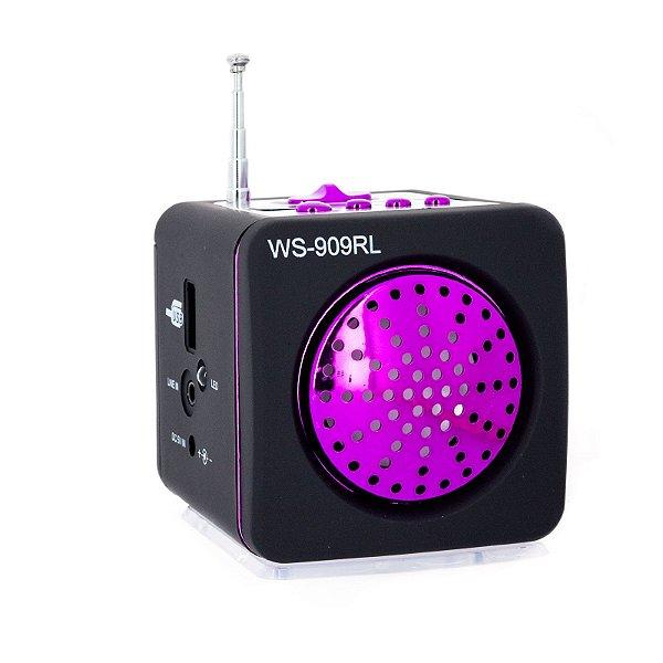 Mini Caixa De Som Portátil Usb Ws - 909rl Mp3 Fm Rosa