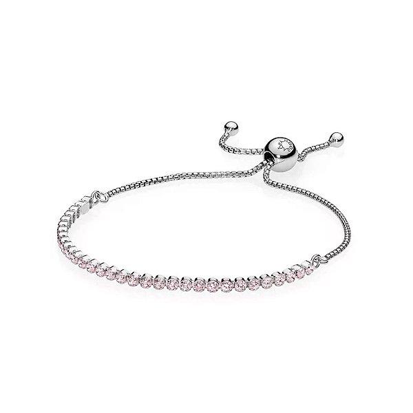 Bracelete Pandora Cordão Brilhante Rosa PAND
