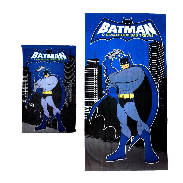 Kit Toalha de Banho e Mão Batman Felpuda Infantil Personagens