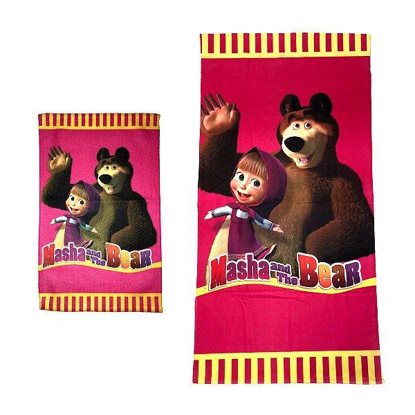 Kit Toalha de Banho e Mão Masha e o Urso Felpuda Infantil Personagens