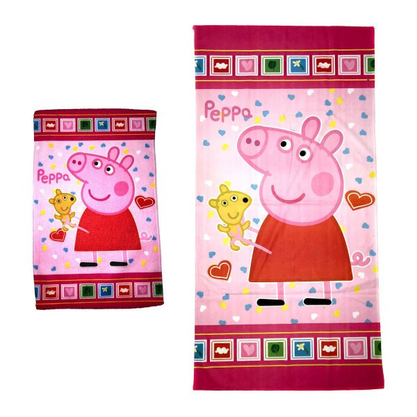 Kit Toalha de Banho e Mão Peppa Pig Felpuda Infantil Personagens