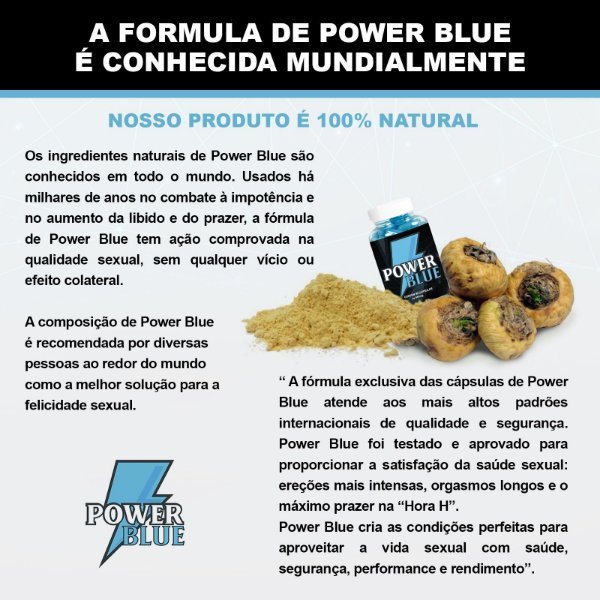 Power Blue Estimulante 500mg - 90 Cápsulas