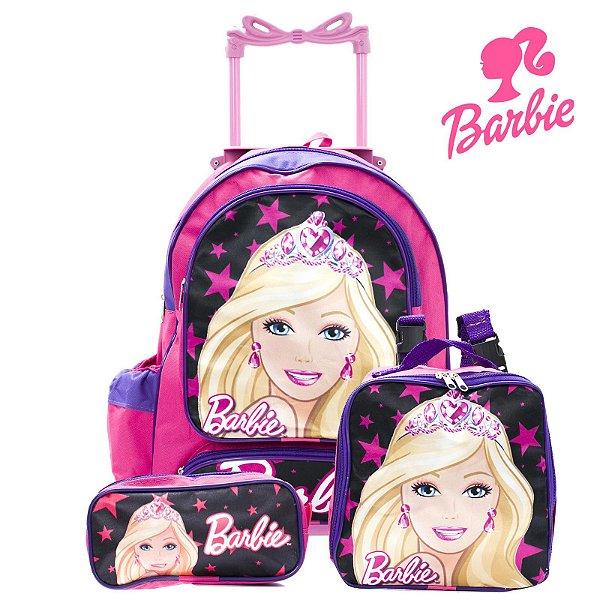 Kit Mochila Infantil Escolar Com Rodinhas Barbie