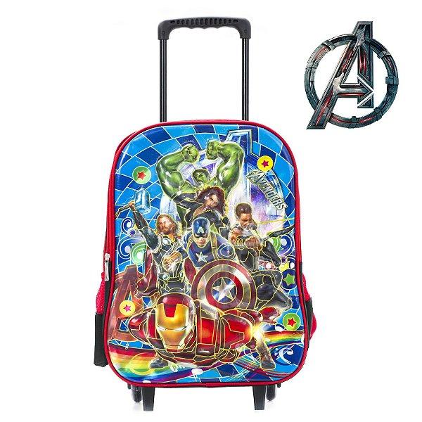 Mochila Infantil Escolar Com Rodinhas Avengers
