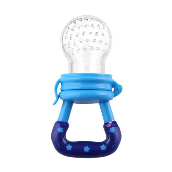 Chupeta Alimentadora Bico Para Bebê - Mordedor Papinha Frutas Azul