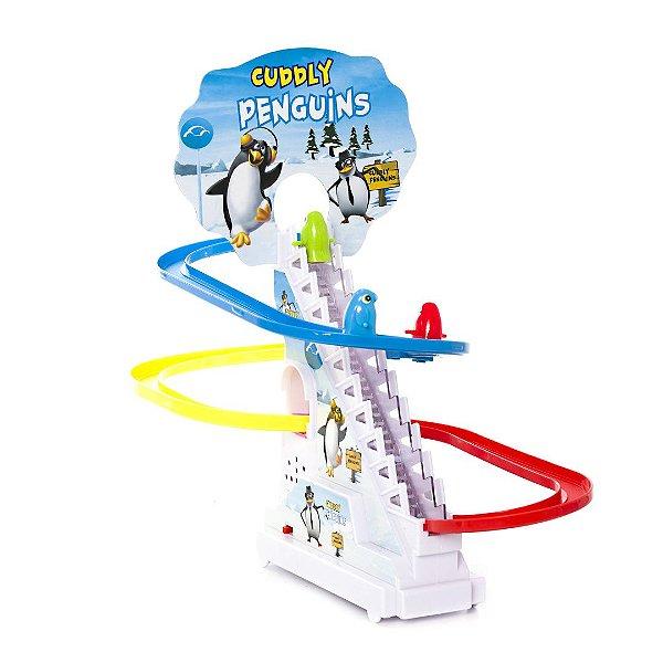 Brinquedo Pista Musical Sobe Descida Dos Pinguim Carrinho