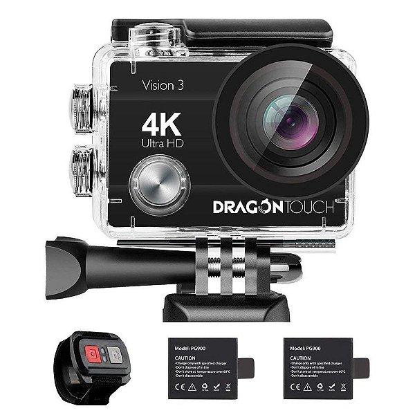 Câmera de Ação Dragon Touch 4K 16MP Visão Sony Subaquática à Prova d'água e WiFi
