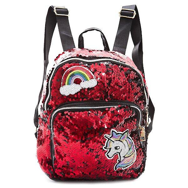 Mochila Unicornio Paetes  Brilho Lantejoulas Dupla vermelho / preto
