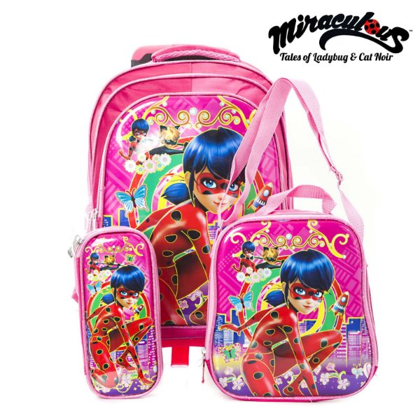 Kit Mochila Lady Bag Miraculos Rodinha Infantil Escolar 6D