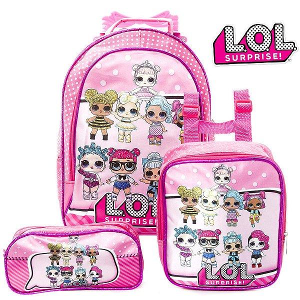 Kit Mochila Escolar Infantil com rodinhas Lol Surprise Rosa