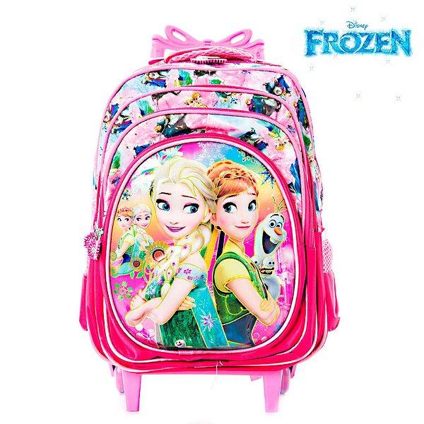 Mochila Infantil Escolar 3D Frozen Elsa e Anna Com Rodinhas