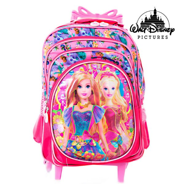 Mochila Infantil Escolar 3D Barbie Com Rodinhas