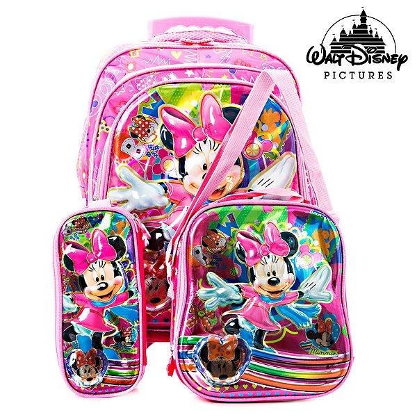 Kit Mochila Infantil Escolar 3D Minnie Com Rodinhas