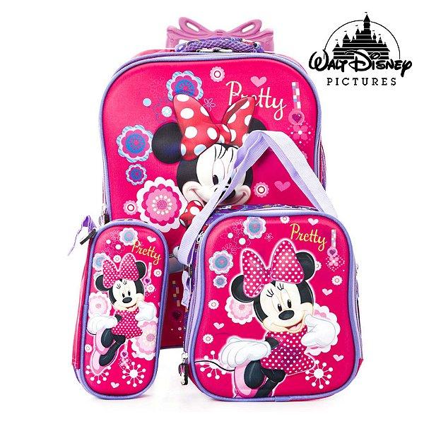 Kit Mochila escolar infantil Rosa de Rodinhas Minnie Mouse