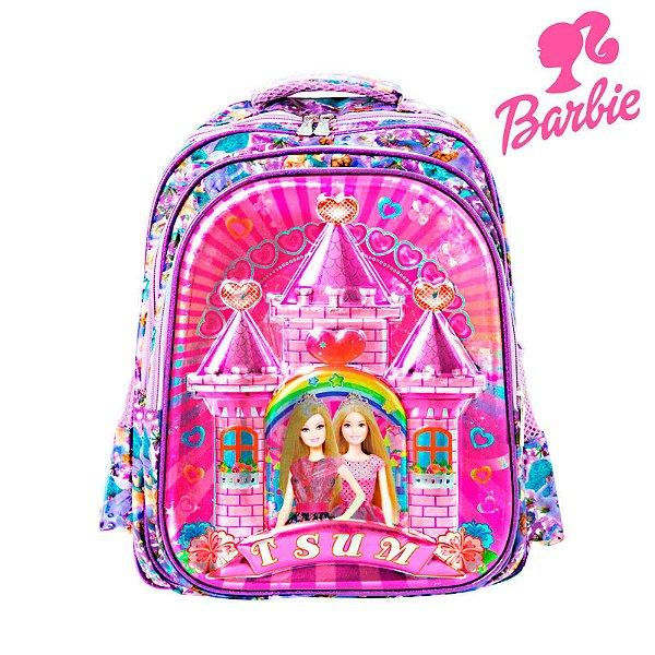 Mochila Infantil Escolar Barbie 3D de Costas