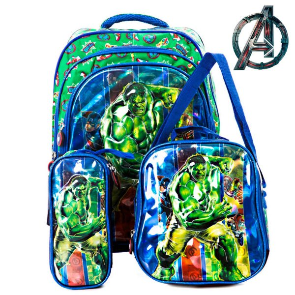 Kit Mochila Escolar Infantil 3D Hulk de Costas