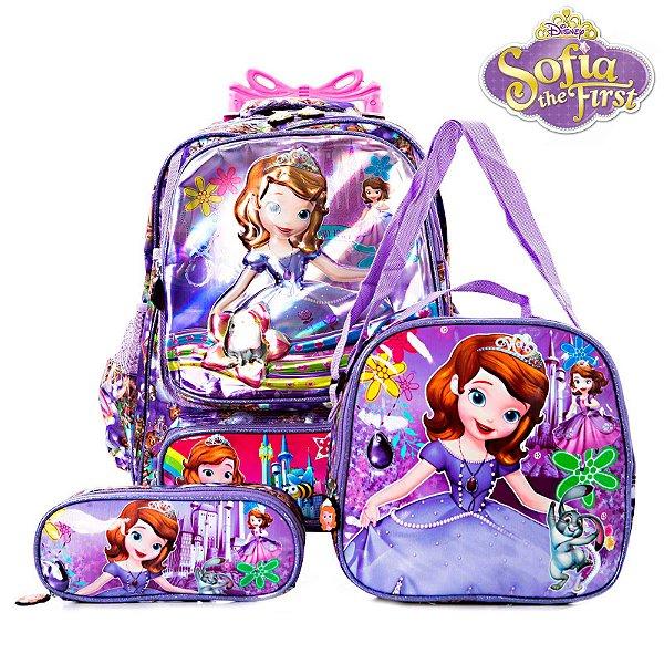 Kit Mochila Escolar Infantil 3D Princesinha Sofia Com Rodinhas