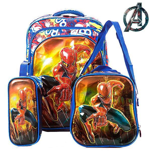 Kit Mochila Escolar Infantil 3D Homem Aranha de Costas
