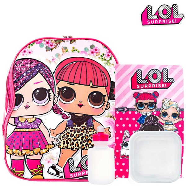 Kit Mochila Escolar Infantil Boneca Lol Surprise De Costas