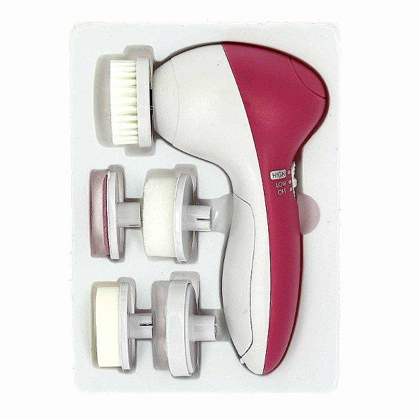 Massageador Facial E Corporal Limpeza De Pele 5 Em 1  Rosa