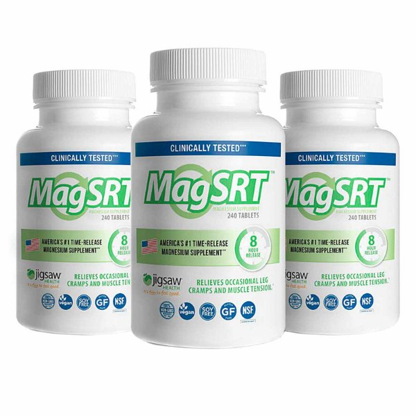 Kit 3 Suplemento Premium Orgânico de Magnésio de Libertação Lenta MagSRT 240 Tablets