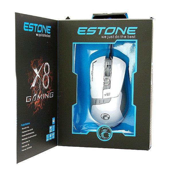 Mouse gamer USB ergonômico 6 botões luz led x8