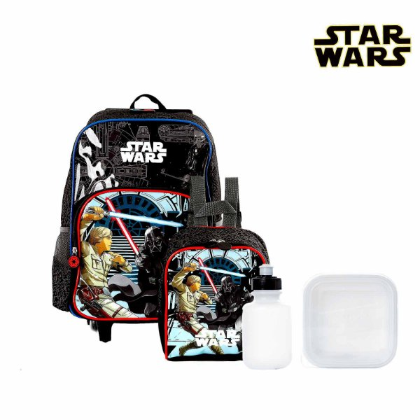 Kit Mochila Escolar Infantil Star Wars Com Rodinhas