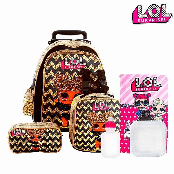 Kit Mochila Infantil Escolar Lol Surprise Glitter Com Rodinhas