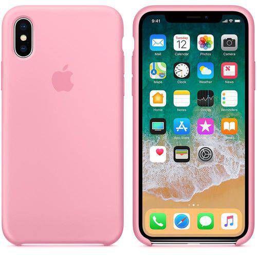 Capa para iPhone X em Silicone Apple Rosa