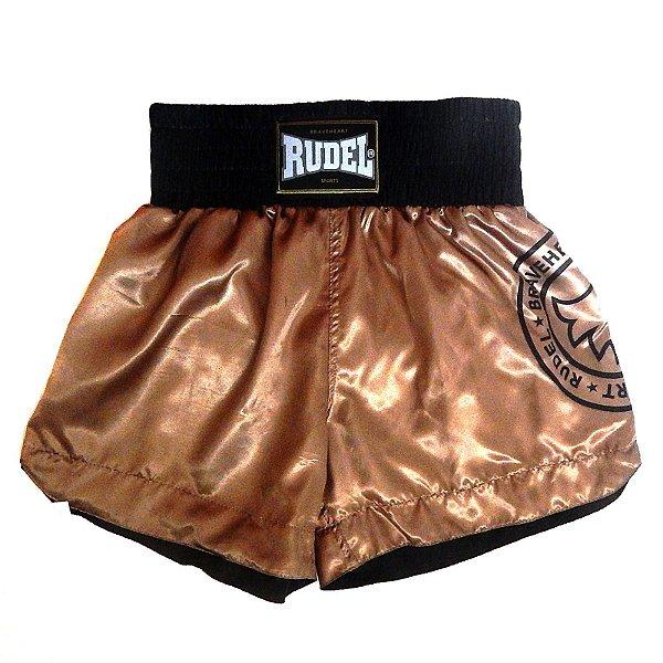 Shorts de Muay Thai Cetim Stamp Goldem Rudel Sports Tamanho P