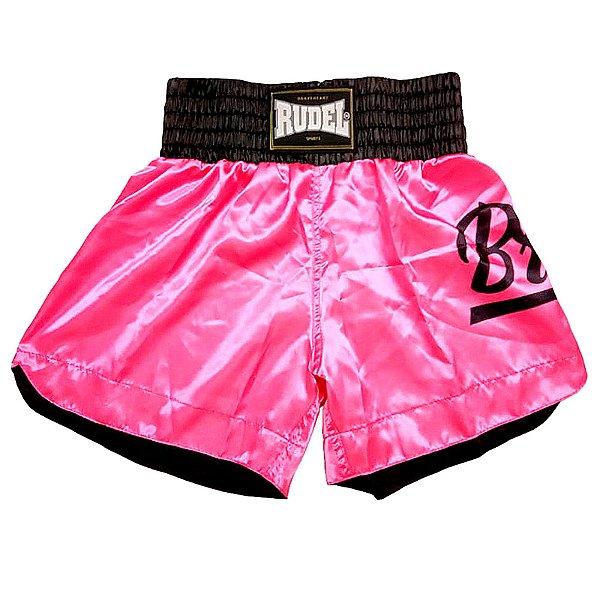 Shorts de Muay thai Cetim Pink Brave Rudel Sports Tamanho M
