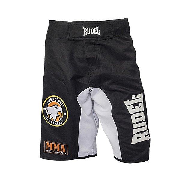 Bermuda Masculino MMA Adler 1 Branco e Preto Rudel Sports Tamanho G