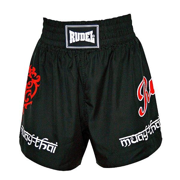 Shorts de Muay Thai MT 04 Coração Valente Preto Rudel Sports Tamanho G