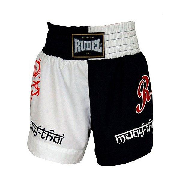 Shorts de Muay Thai MT 04 Coração Valente Branco e Preto Rudel Sports Tamanho G