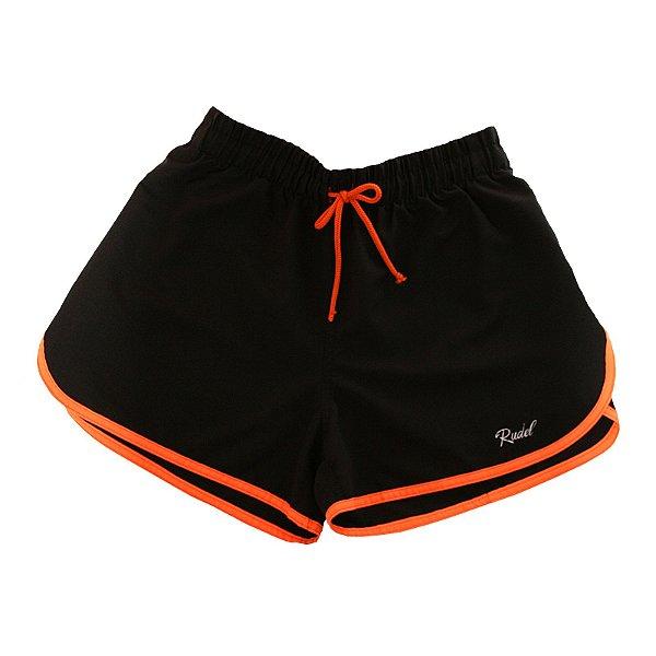 Shorts Feminino Sprint Preto e Laranja Rudel Sports Tamanho P