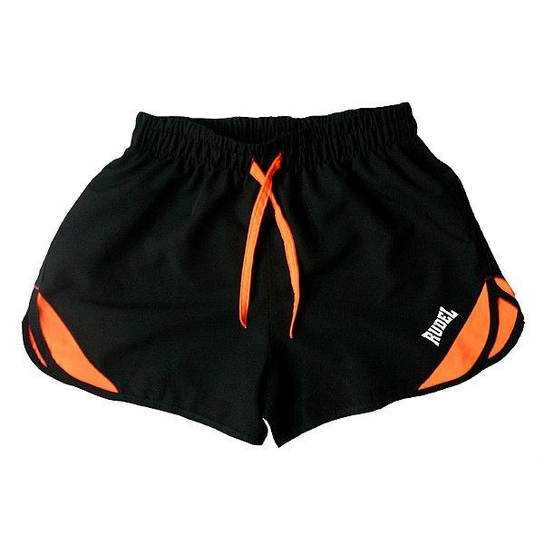 Shorts Masculino Sprint Preto e Laranja Rudel Sports Tamanho G
