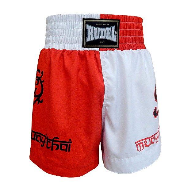 Shorts de Muay Thai MT 04 Coração Valente Branco e Vermelho Rudel Sports Tamanho G