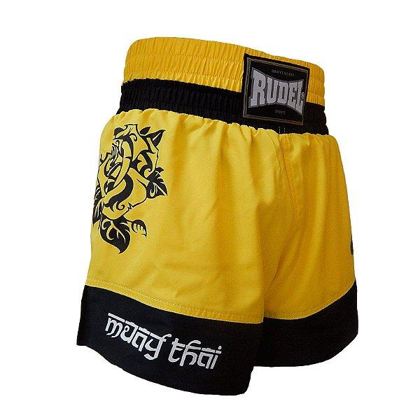 Shorts de Muay Thai Femino Amarelo Rudel Sports Tamanho M