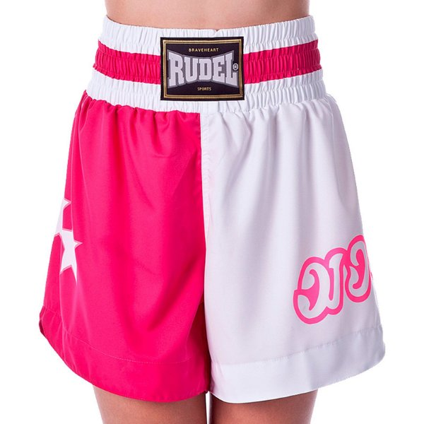 Shorts de Muay Thai MT03 Rosa e Branco Rudel Sports