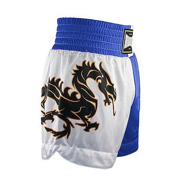 Shorts de Muay Thai MT 07 - Dragon I Azul e Branco Rudel Sports