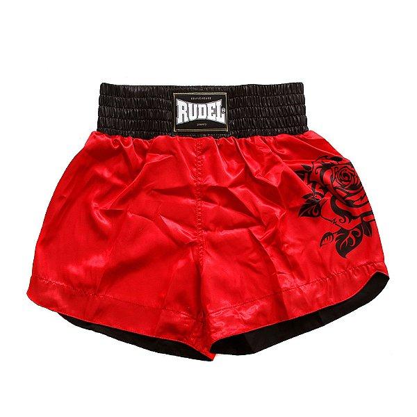 Shorts de Muay thai Cetim Vermelho Rudel Sports Tamanho P