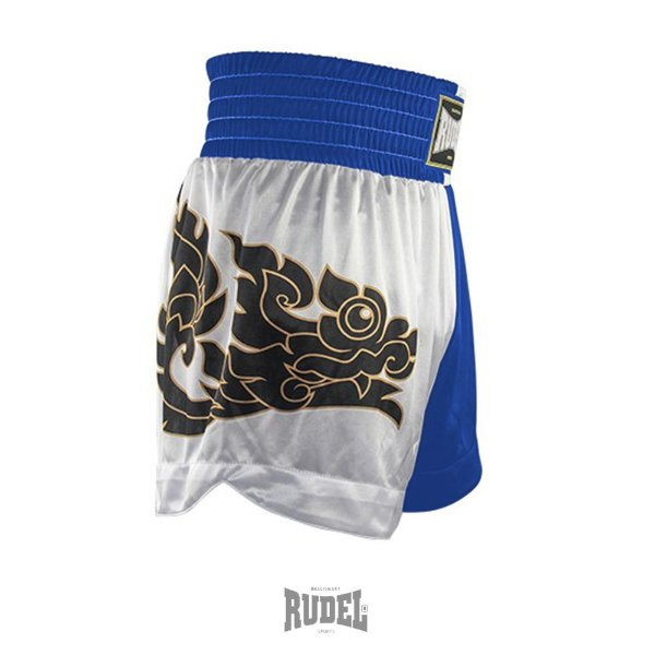 Shorts de Muay Thai MT 08 Dragon II Azul e Branco Rudel Sports Tamanho P