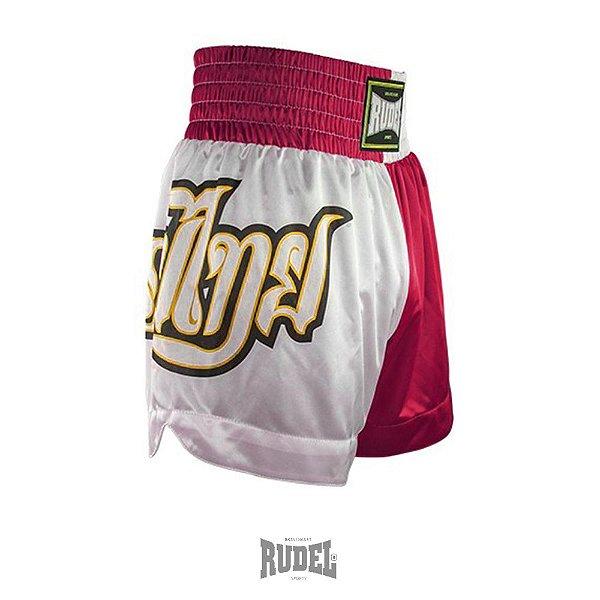 Shorts de Muay Thai MT 09 Lumpi Vermelho e Branco Rudel Sports Tamanho P