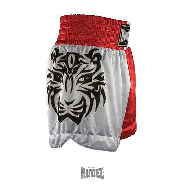 Shorts de Muay Thai MT 10 Tigre Vermelho e Branco Rudel Sports Tamanho P
