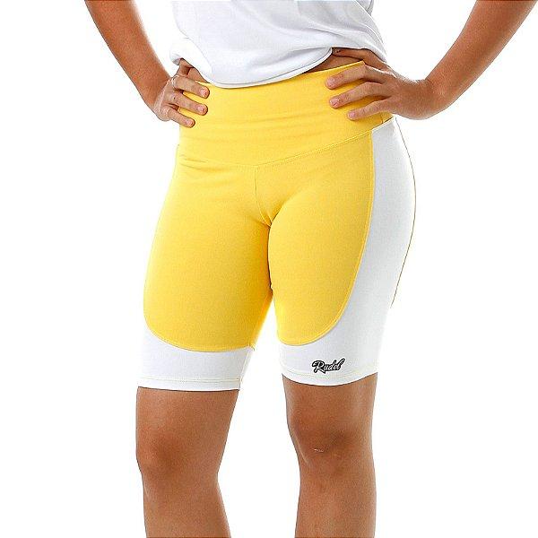 Bermuda Feminino Recorte Amarelo e Branco Rudel Sports Tamanho M