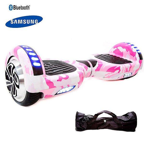 """Hoverboard 6,5"""" Rosa Camuflado HoverboardX USA Bateria Samsung Bluetooth Smart Balance Com Bolsa"""