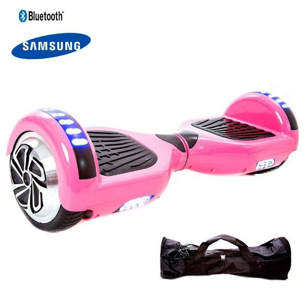 Hoverboard 6.5 Rosa Bluetooth Led lateral e frontal com mochila - Bateria Samsung