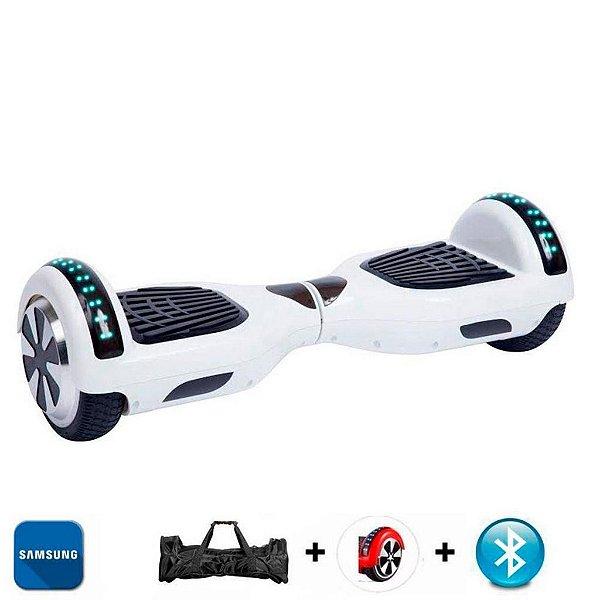 Hoverboard Smart Balance Whell 6.5 polegadas Branco com Bluetooth , Led frontal e lateral e mochila